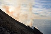 Eruption of Stromboli Volcano, 17.10.2016, Stromboli Island, Aeolian Islands, Lipari Islands, Tyrrhenian Sea, Mediterranean Sea, Italy, Europe