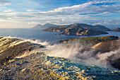 Sulfur on the crater rim of Gran Cratere, view from Vulcano Island to Salina and Lipari, Lipari Islands, Aeolian Islands, Tyrrhenian Sea, Mediterranean Sea, Italy, Europe