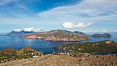 Panoramic view from Vulcano to Salina and Lipari, Lipari Islands, Aeolian Islands, Tyrrhenian Sea, Mediterranean Sea, Italy, Europe