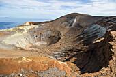 volcano crater Gran Cratere wiith Stromboli in the background, Vulcano Island, Aeolian Islands, Lipari Islands, Tyrrhenian Sea, Mediterranean Sea, Italy, Europe