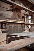 historical industrial weaving loom, textile museum at Laichingen, Swabian Alb, Baden-Wuerttemberg, Germany