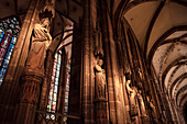 sculptures and artistic windows, interior of Strasbourg cathedral, Strasbourg, Alsace, France