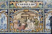 Antique ceramic, wall tiles representing provinces and cities of Spain , CastellonPlaca de Espana, spanish square, Seville, Andalusia, Spain