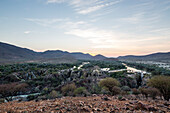 Kunene River and Epupa falls, Angola to the left, Kunene, Namibia, Africa.