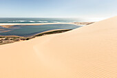 The lagoon of Sandwich Harbour, seen from Dunes above, Walvis Bay, Erongo, Namibia, Africa.