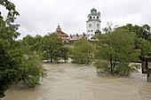 Flood, river Isar and Müllersches Volksbad, Lehel, Munich, Upper Bavaria, Bavaria, Germany