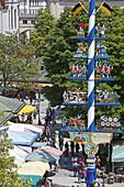 View over Viktualienmarkt, Munich, Upper Bavaria, Bavaria, Germany