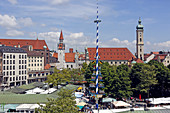 View over Viktualienmarkt with the steeple of the old city hall and Heilig-Geist-Kirche, Munich, Upper Bavaria, Bavaria, Germany