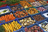 A display of different root vegetables at Viktualienmarkt, Munich, Upper Bavaria, Bavaria, Germany