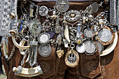 Schariwari, a chain with coins, crystals etc is part of the traditional bavarian male outfit, Munich, Upper Bavaria, Bavaria, Germany