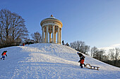 Winter day, Monopteros, Englischer Garten, Munich, Upper Bavaria, Bavaria, Germany