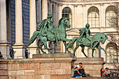 Equestrian statues of ''Castor and Pollux'' by Max von Widnmann, at the entrance of the art academy, Akademiestr. 11, Maxvorstadt, Munich, Upper Bavaria, Bavaria, Germany