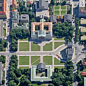 Koenigsplatz square with Glyptothek (bottom), Antikensammlung (middle) and Benediktine abbey St. Bonifaz (top), Munich, Maxvorstadt, Upper Bavaria, Bavaria, Germany