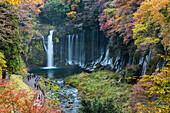Shiraito waterfalls from above with tourists in autumn, Fujinomiya, Shizuoka Prefecture, Japan