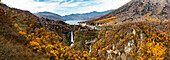 Big panorama of Nikko Kegon Falls and Lake Chuzenji colorful in autumn, Nikko, Tochigi Prefecture, Japan