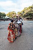 'Vier junge japanisch Frauen bekleidet mit traditionellem Kimono am Tag ''Seijin-no-hi'' vor dem Meiji Schrein, Shibuya, Tokio, Japan'