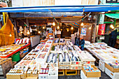 Lachs- und Fischverkäufer im Tsukiji Außenmarkt, Chuo-ku, Tokio, Japan