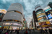 Crossing with pedestrians at Ginza Place and Imaging Square in Ginza during cloudy blue hour, Chuo-ku, Tokyo, Japan