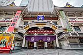 Großaufnahme des Kabukiza Theater in der Ginza, Chuo-ku, Tokio, Japan