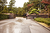 Woman with red umbrella entering the East Garden of the Imperial Palace, Chiyoda-ku, Tokyo, Japan