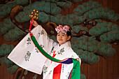 Girl dancing in traditional costume during Sanja Matsuri in Asakusa, Taito-ku, Tokyo, Japan