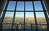 Tokyo with Sumida River and Mt. Fuji seen from Skytree through window, Sumida-ku, Tokyo, Japan