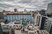 Backstreets of Ginza from above on a cloudy day, Ginza, Chuo-ku, Tokyo, Japan