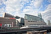 Tokyo International Forum with Shinkansen at Yurakucho Station, Chiyoda-ku, Tokyo, Japan