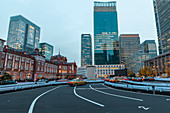 Taxi queue in front of Tokyo Station at blue hour, Chuo-ku, Tokyo, Japan