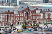 Emperors Gate and taxi queue at Tokyo Station from above, Chuo-ku, Tokyo, Japan