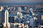 Close-up of Chiba, Odaiba, Bay and Rainbow Bridge, Minato-ku, Tokyo, Japan