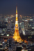 Tokyo Tower seen from above at blue hour, Minato-ku, Tokyo, Japan