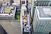 View towards Yuito, Coredo Muromachi and Fukotoku Shrine from above, Nihonbashi, Chuo-ku, Tokyo, Japan