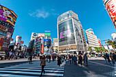 Famous pedestrian zebra crossing in Shibuya, Tokyo, Japan