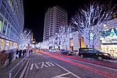 Langzeitbelichtung der Keyakizaka mit wartenden Personen und parkenden Autos mit Weihnachtsbeleuchtung bei Nacht, Roppongi, Minato-ku, Tokio, Japan