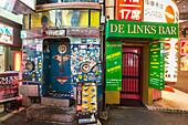 Entrance of two small bars in Roppongi, Minato-ku, Tokyo, Japan