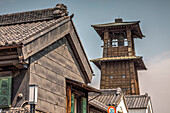 Old wooden clock tower Tokinokane and Kurazukuri in Kawagoe, Saitama Prefecture, Japan