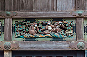 Close-up of famous three apes carving at Toshogu-Shrine, Nikko, Tochigi Prefecture, Japan