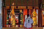 Temple dancer at Futurasan Shrine in Nikko, Tochigi Prefecture, Japan