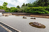 Famous stone garden of temple Ryoan-ji, Kyoto, Japan