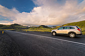 Jeep, Road, Highlands, Mountains, Sunset, Iceland, Europe