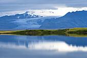Gletscher, Gletscherzunge, Spiegelung, Vatnajökull, Pveit, Skrida, Island, Europa