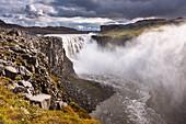 Wasserfall, Dettifoss, Goldene Stunde, Dunst, Schlucht, Island, Europa
