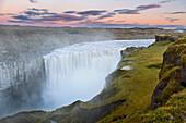 Wasserfall, Dettifoss, Sonnenuntergang, Gischt, Schlucht, Island, Europa