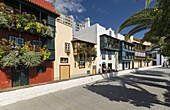 Colorful balconies in Santa Cruz de la Pama, island of La Palma, Canary Islands, Spain