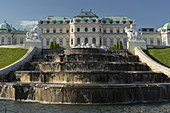 Fountain in front of Belvedere Palace, 3rd district Landstrasse, Vienna, Austria