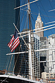 Sailing ship from the South Street Seaport Museum, Manhattan, New York City, New York, USA