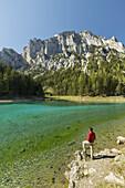 Green lake, one person, Oberort, Hochschwab region, Styria, Austria