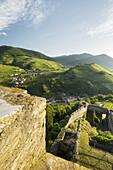 View from the ruin Hinterhaus, Danube, Wachau, Mostviertel, Lower Austria, Austria