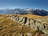 Dent Blanche, Ober Gabelhorn, Zinalrothorn, Weisshorn, Zermatt, Wallis, Schweiz